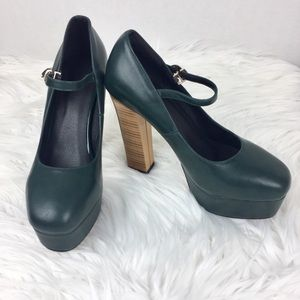 Shoes - NEW Green Leather Mary Jane Platforms